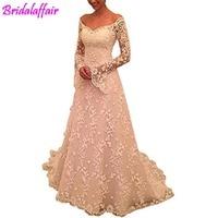 A Line Lace Wedding Dresses Long Sleeves Wedding Gowns vestido de noiva long robe de mariee Backless Gown For Bride