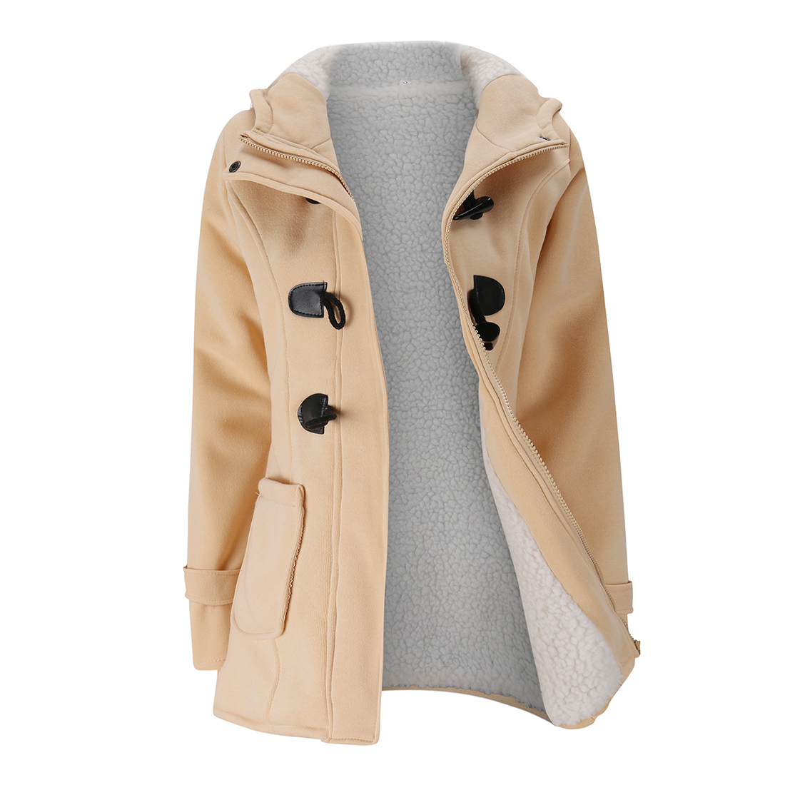 Women's Fashion Trench Coat Autumn Thick Lining Winter Jacket Overcoat Female Casual Long Hooded Coat Zipper Horn Button Outwear 1