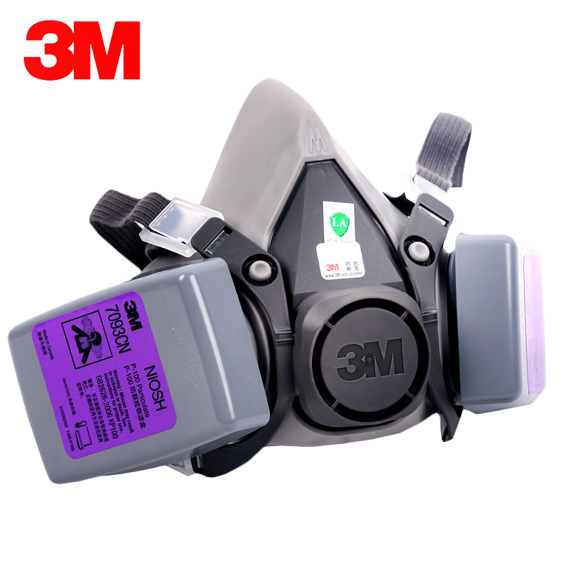 3M 6200 Reusable Half Face Mask 7093 Respirator Mask Oily and Non-oily Particles/Dust/Welding Smoke/Glass Fiber LT1741 11 in 1 suit 3m 6200 half face mask with 2091 industry paint spray work respirator mask anti dust respirator fliters
