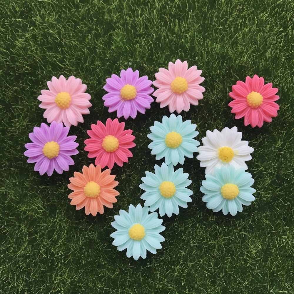 10pcs/lot Kawaii Flat Back Resin Little Flower Daisy DIY Resin Cabochons Accessories