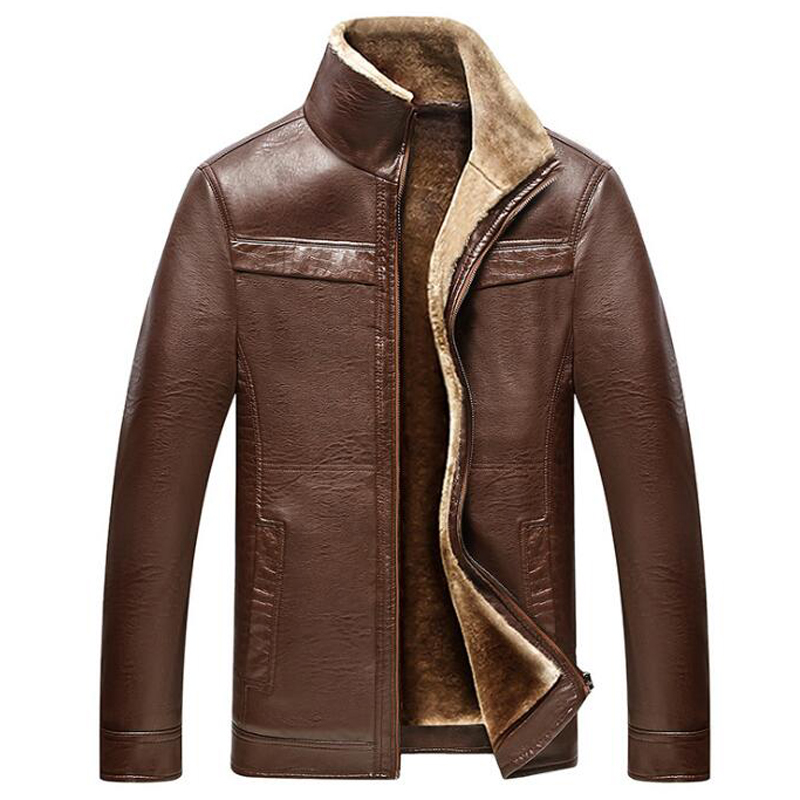 European and American Style Mens Fur Leather Jackets Big and Tall Men Winter Business Leather Jacket Overcoats Winter Warm C171