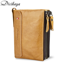 DICIHAYA HOT Genuine Cowhide Leather Men Wallet Short Coin Purse Small Fashion Wallets Brand High Quality Designer Zipper