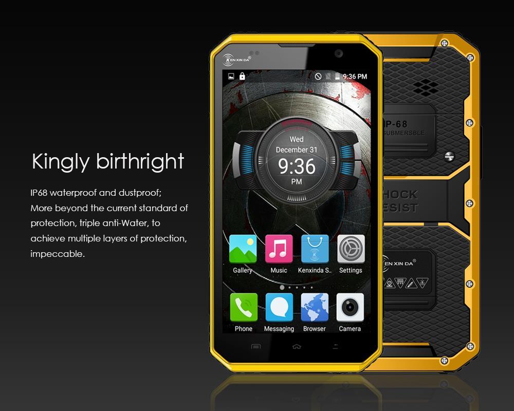 Kenxinda W9 IP68 ultra dunne Slanke Waterdichte telefoon Mobiele Shockproof 4G LTE MTK6753 8 Octa Core 6 Android Robuuste Smartphone - 4