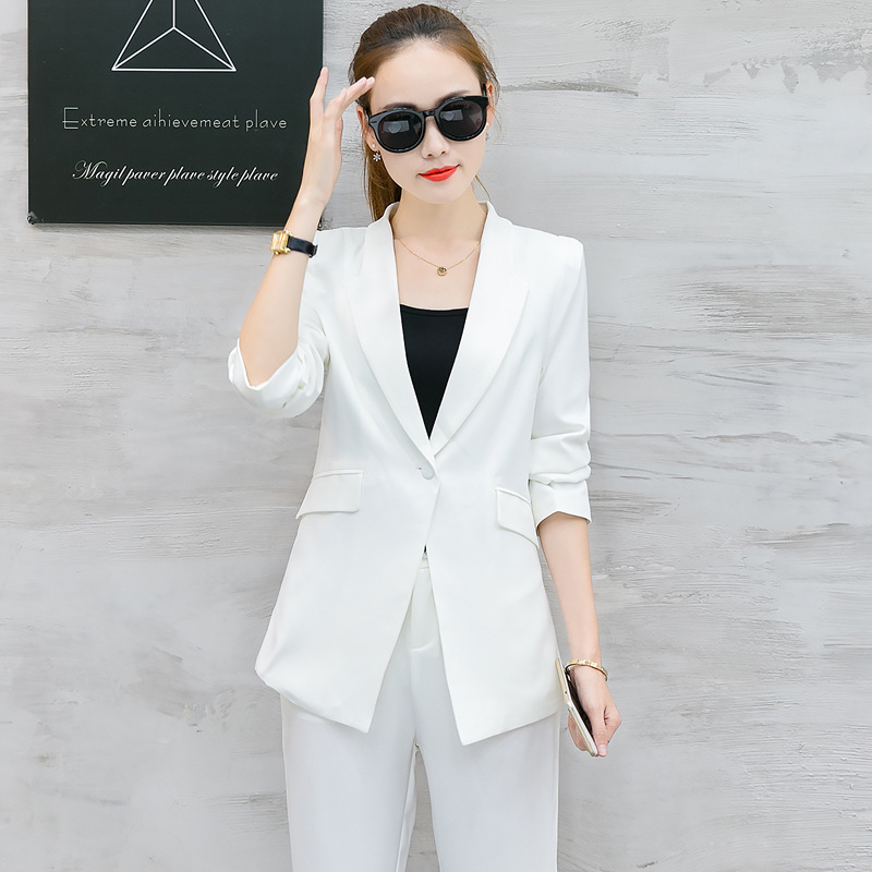 SHERAN 2019 Spring Suit Elegant Office Lady Business Suits Female Two Piece Sets Femme Three Quarter Jackets And Trouser Suits