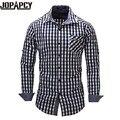 2017 NOVA primavera camisa xadrez masculina camisa-camisa de mangas compridas plus size escritório juventude camisa business casual homens MXB0379