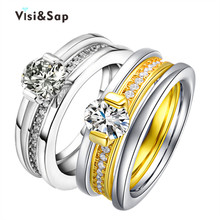 Eleple Bridal Sets Yellow White Gold Color Ring Wedding Rings For Women Fashion Jewelry Lovers Gifts Dropshipping VSR152 bridal sets fashin milky pink ring with white gold plate gift present for women