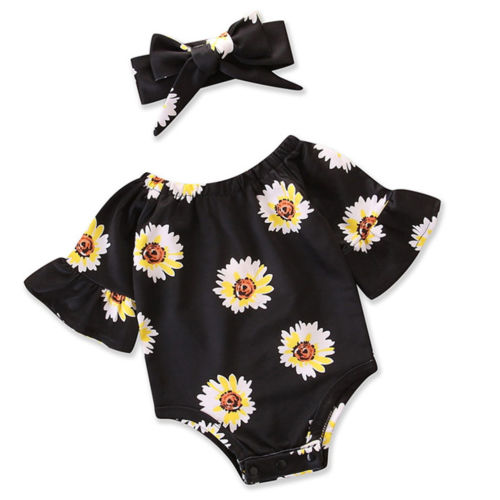 Newborn Baby Girls Toddle Infant Sunflower Bodysuit Jumpsuit Short Sleeve Cotton Baby Fshion Clothes Baby Girl Sunsuit 0-24M