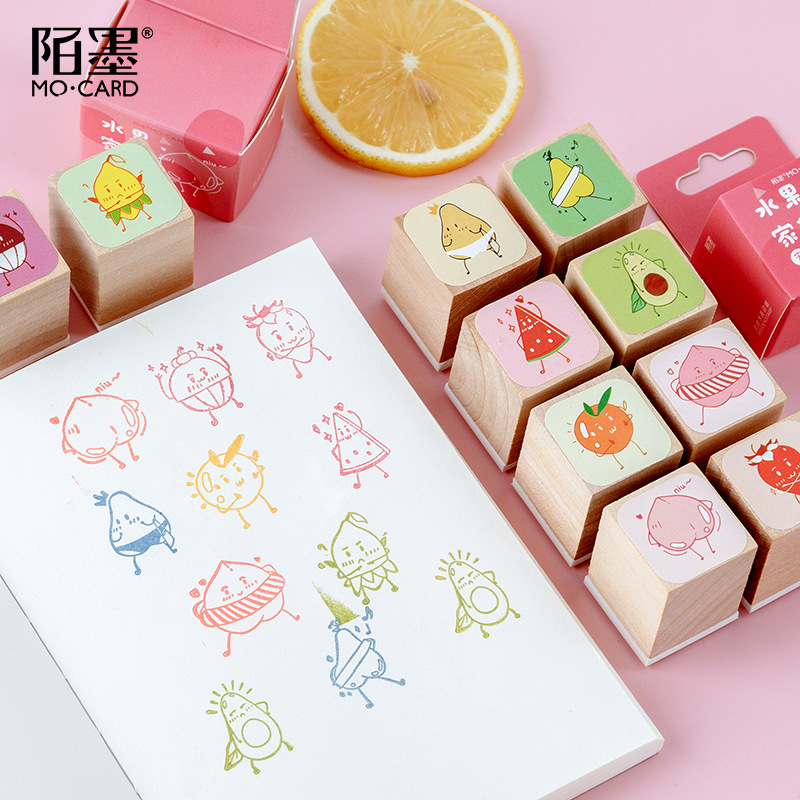 TUNACOCO Cute Stamp Set Seal Sighnet Fruit Wooden Stamp Bullet Journal DIY Crafts Qt1710135