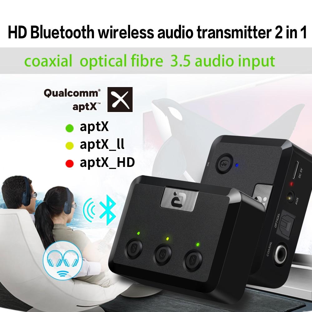 Émetteur optique Bluetooth 4.2 aptX 3.5mm Aux RCA adaptateur Audio sans fil double liaison pour casque TV PC