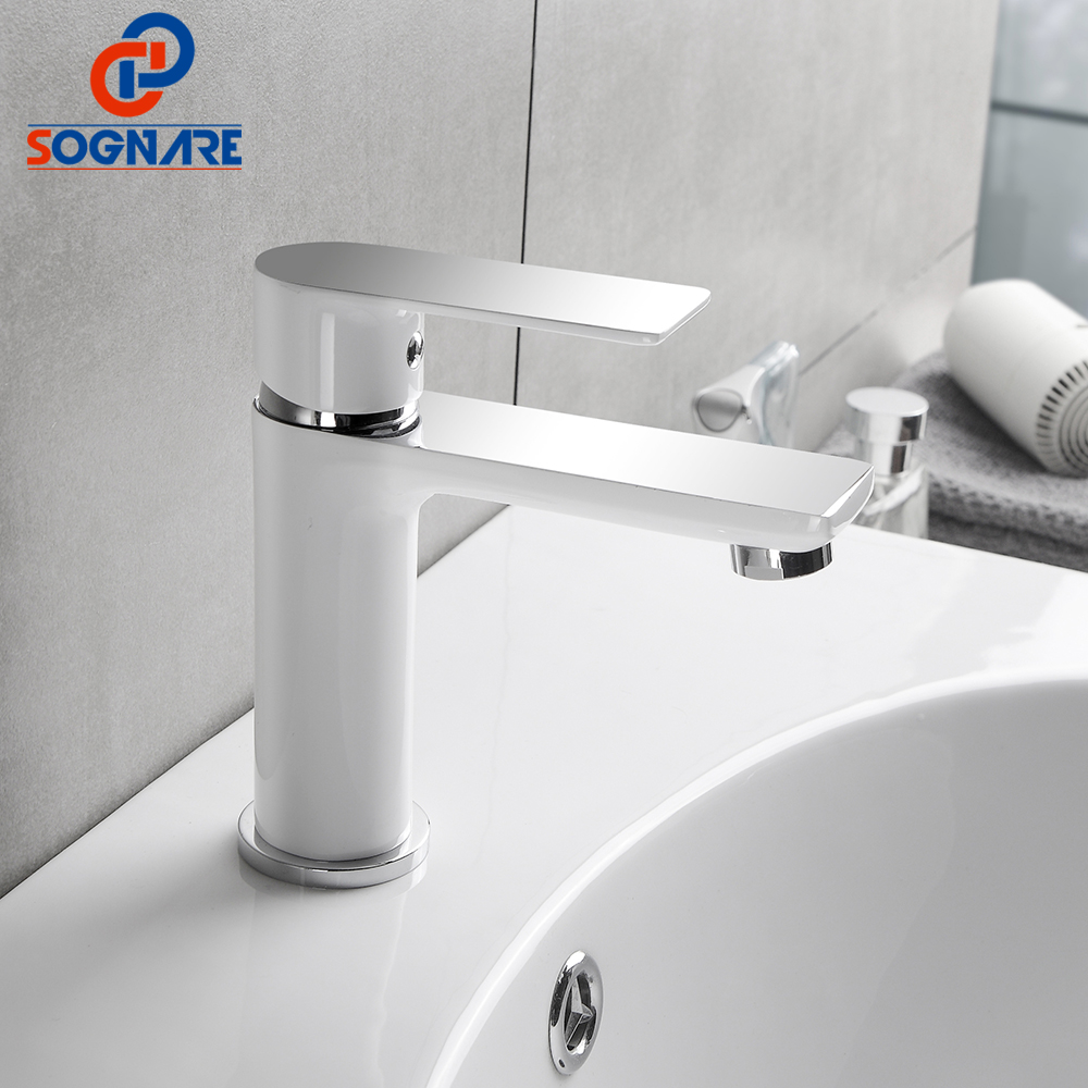 SOGNARE Bathroom Faucet Chrome and White Painting Basin Sink Mixer Tap Brass Made Cold Hot Bath Taps Water Basin Faucets B102WC bathroom basin faucets modern chrome finished bathroom faucet single hole cold and hot water tap basin faucet mixer taps