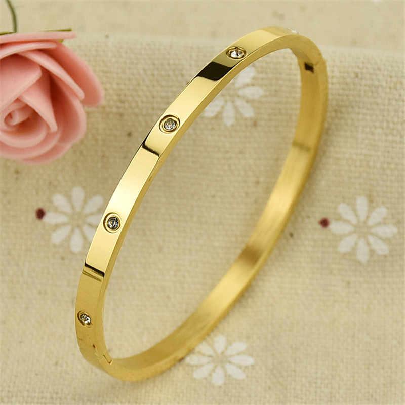 Martick eleganckie bransoletki sześcienne złoty kolor z pełnym połyskiem sześciennych bransoletek ze stali nierdzewnej 4mm szerokości dla par biżuteria B6