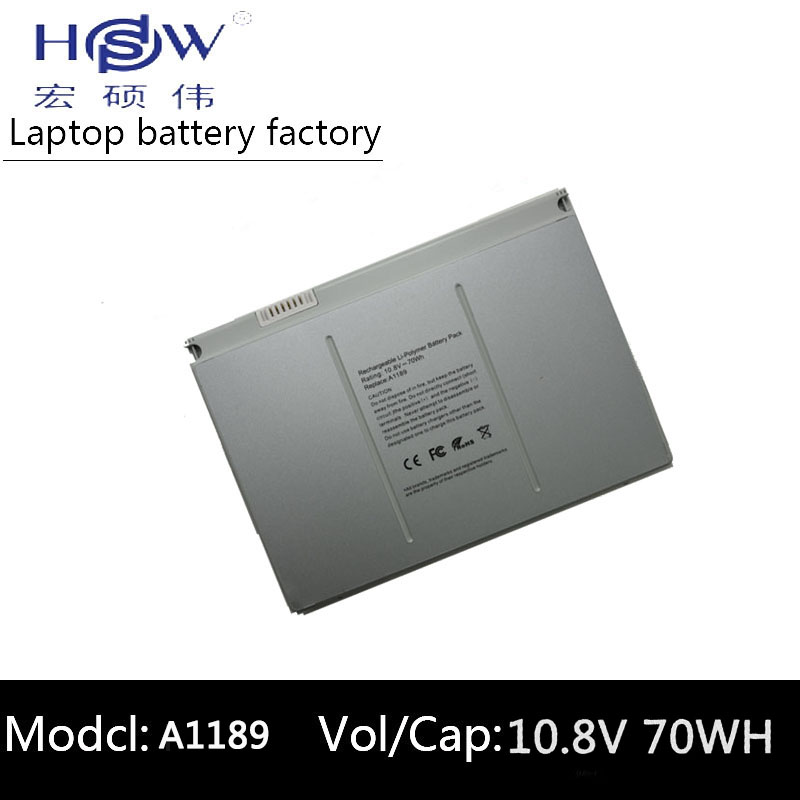 HSW 6600mAh Laptop Battery A1189 For Apple MacBook Pro 17 Inch MA092T MA897X/A MA611B A1151 A1212 A1229 A1261 bateria akku battery for apple macbook pro 17 a1189 a1212 a1261 a1151 ma092 ma458