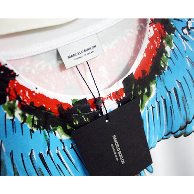 Italy County Of Milan Feather Wings MB Marcelo Burlon T-shirts Summer Men Women Fashion Marcelo Burlon T-Shirts 2018 Summer