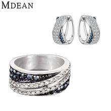 MDEAN CZ diamond jewelry White Gold Plated Jewelry Sets Engagement Vintage earrings+rings for women fashion wedding jewelry set