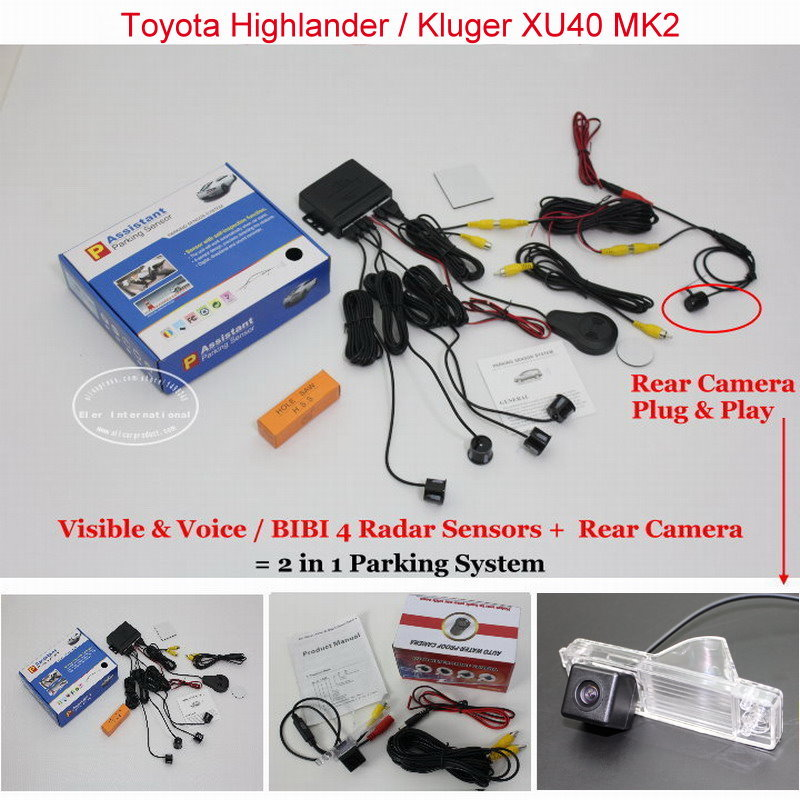 Liislee For Toyota Highlander / Kluger XU40 MK2 - Car Parking Sensors + Rear View Camera = 2 in 1 Visual / Parking System