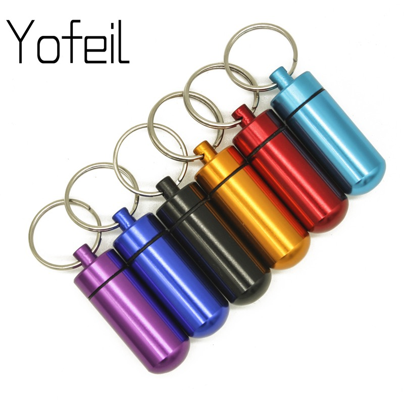 1 Pc Outdoor Survival Pocket Aluminium Alloy Mini Waterproof Pill Box Case Bottle  Drug Holder Container Keychain Medicine