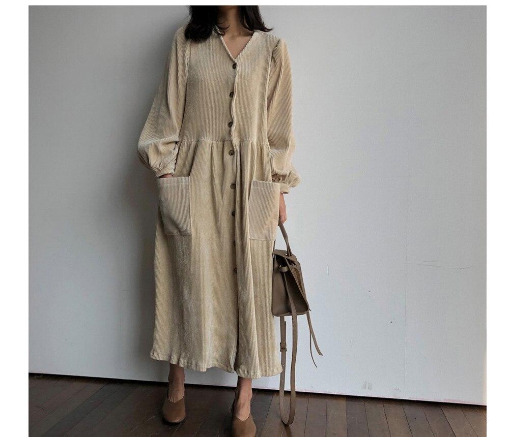 Ragazze Donne Stile Velluto Tasche Molla Di Della Modo Wang Vestito Con Streetwear Vintage Nero Coste A Del Scollo il Delle V Beige 2019 Whitney WHwqSpxU