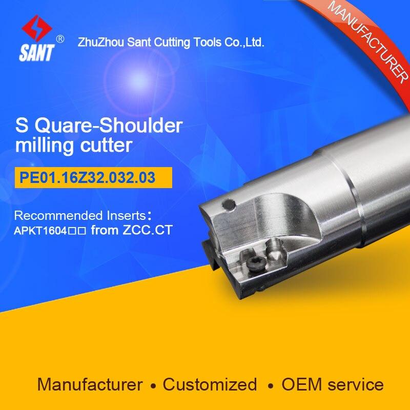 Zhuzhou Sant Indexable milling cutter with 90degree EMP01-032-G32-AP16-03/PE01.16Z32.032.03 Mached carbide insert APKT160408  цены