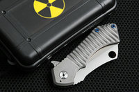 D2 KingKong Bearing Folding Knife Titanium Handles Ceramics Balls Stonewash Mashine Satin Blade Edc Tools Drop