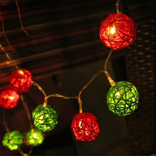 1.5M 10LED Red Green  Rattan Ball String Fairy Lights For Christmas Home Wedding decoration Party plug dry battery цена и фото