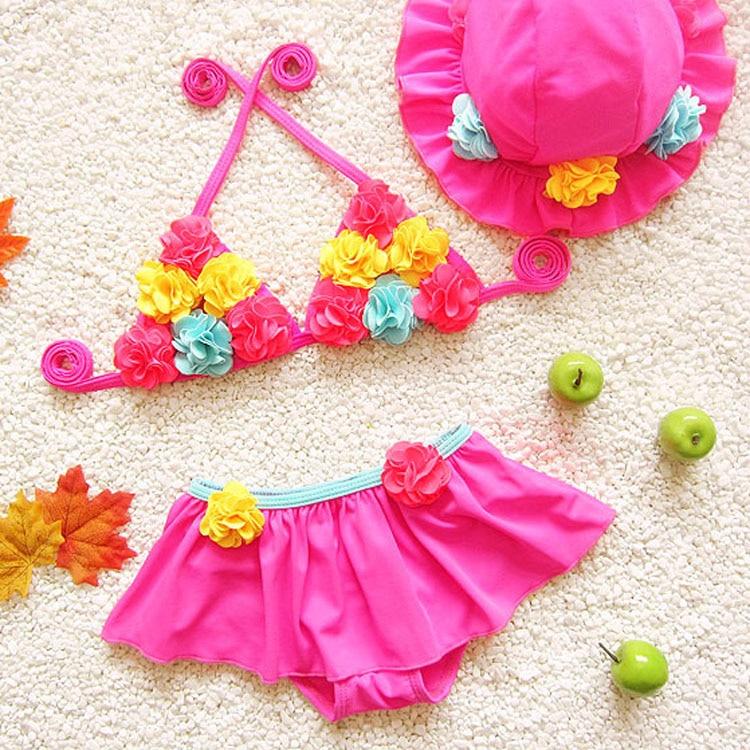 swimsuits kids girls swim hand flower girl bikini swimwear two pieces beach mermaid tail swimming children hat - Ningbo Yinzhou Chenfeng Garment Factory store