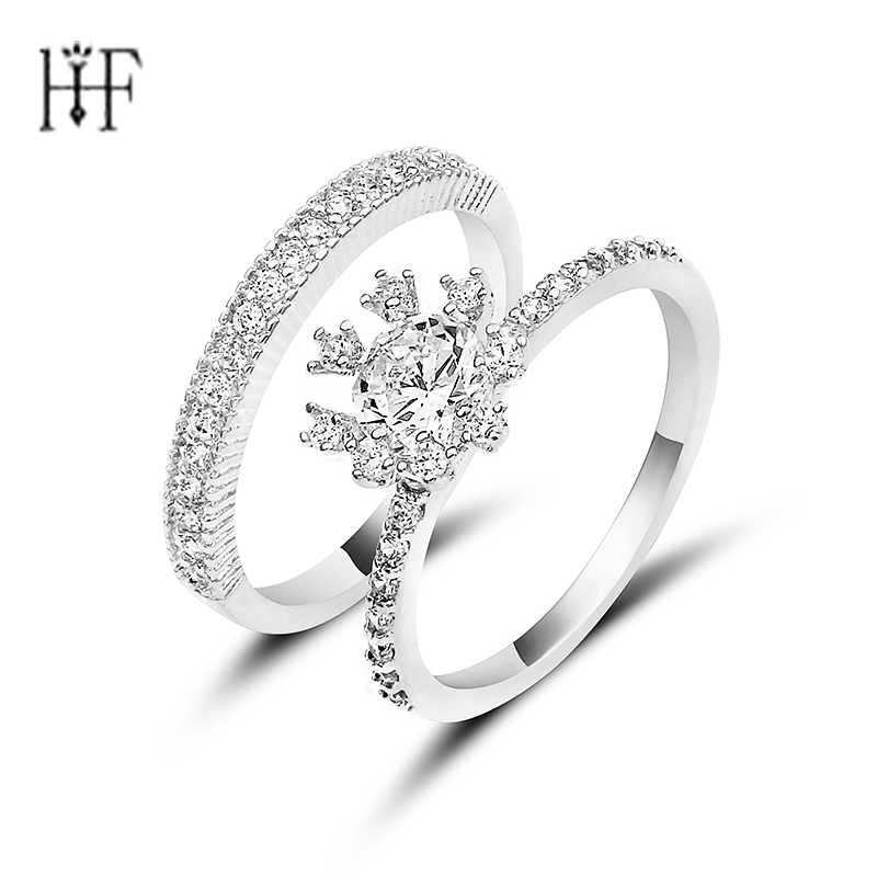 New Arrival 1 Set Ring White Zircon Rings For Female Male Gold Filled Fashion Wedding Party Engagement Ring Simple Jewelry