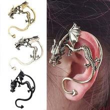 Vintage Punk Style Temptation Metal Fly Dragon Ear Hook Wrap Earrings  88 KQS