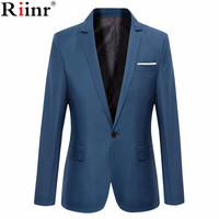 Riinr New Arrival Brand Clothing Autumn Suit Blazer Men Fashion Slim Male Suits Casual Solid Color