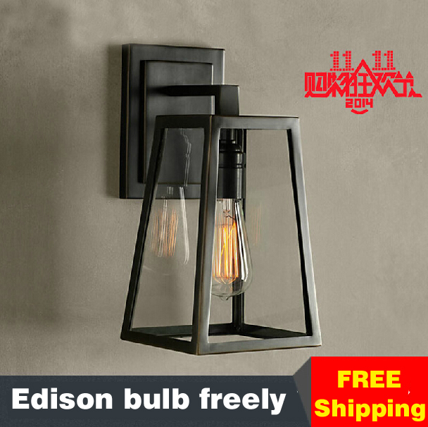 Edison wall lights for home American vintage Wall lamp Simple Bedside Garden industrial sconces Iron Clear Glass wall light loft