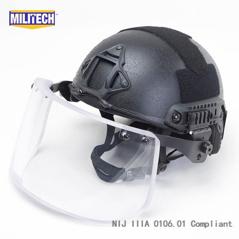 MILITECH Noir BK Deluxe NIJ IIIA 3A 0106.01 FAST Bulletproof casque et Visière Ensemble Affaire Balistique Casque Pare-balles Masque Pack