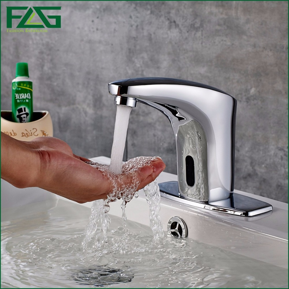 FLG Free Touch-less Deck Mounted Basin Sensor Faucet With Geagle Water Solenoid Valve Electric Bathroom Sink Mixer Tap 8808 free shipping in wall installing sensor water faucet with deck mounted hotel bathroom sensor mixer tap basin sensor faucet