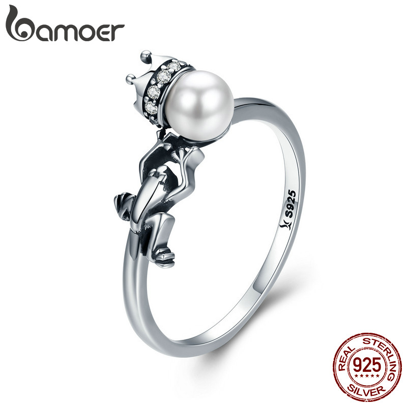 BAMOER Spring Collection 925 Sterling Silver Frog with Prince Crown Finger Rings for Women Wedding Engagement Jewelry SCR287 стоимость
