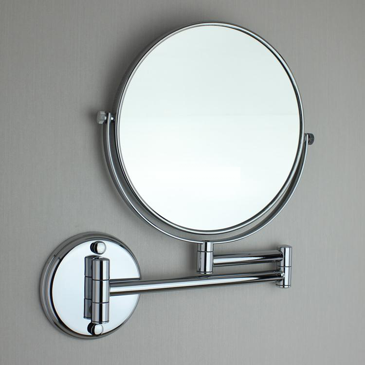 6 Double Side Bathroom Folding Brass Shave Makeup Mirror Chromed Wall Mounted Extend With Arm