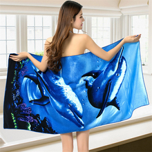 Dolphin Printed Quick Dry Absorbent Towels Microfiber Large Beach Towel for Adult Swimwear Beach Cover Bathroom Bath Towel Mats
