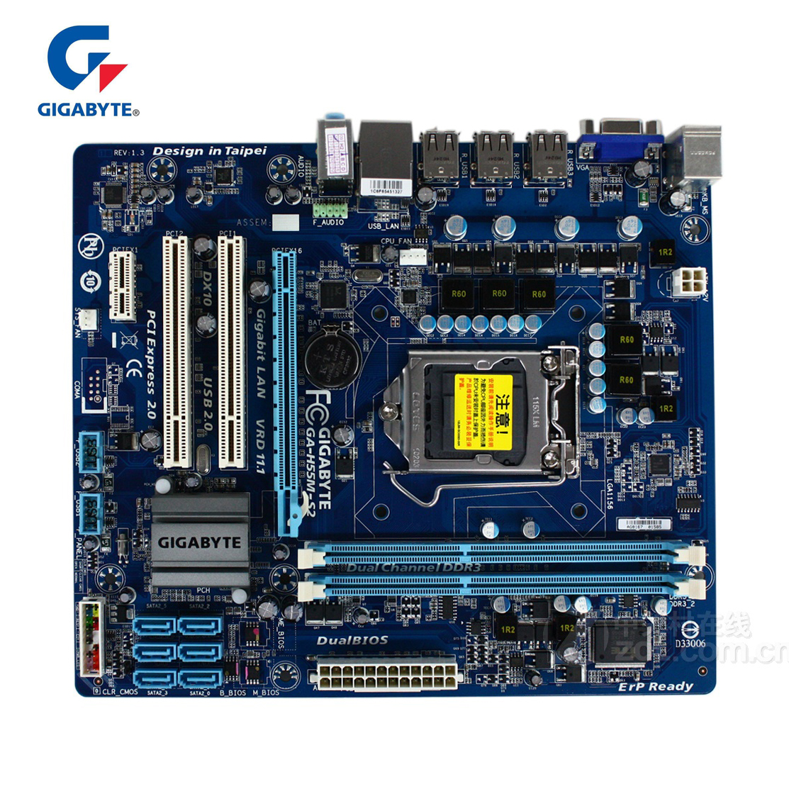 Gigabyte GA-H55M-S2 100% Original Motherboard LGA 1156 DDR3 8GB H55 S2 H55M-S2 Desktop Mainboard Mother board Used i7 i5 i3 цена