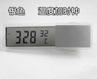 051466 zilver transparant sucker LCD automobiel klok met thermometer kleine en stijlvolle gratis verzending