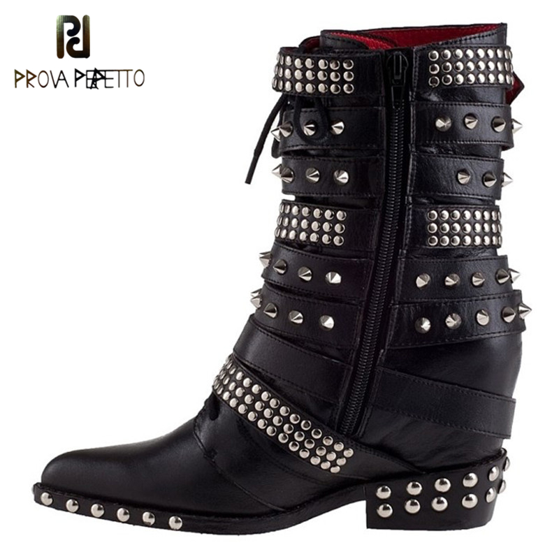 Prova Perfetto 2017 New Trend Women Boots Wedge Heel Pointed Full Rivets Boot Fashion Belt Buckle