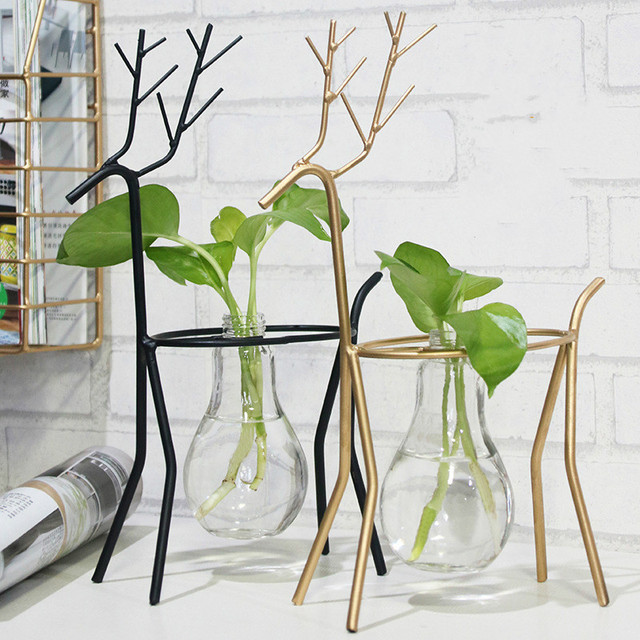 Lluxury Nordic Style Glass Iron Art Vase Ceometric Shape Hydroponic Flower Pot Home Wedding Creative Decoration Accessories