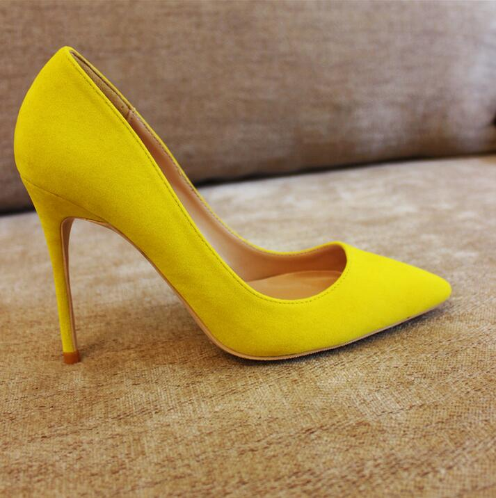 Yellow Suede High Heels Pumps 12cm Pointed Toe Slip on Shallow Pump Women Shoes Office Lady Plus Size 10 Bride Wedding Shoes in Women 39 s Pumps from Shoes