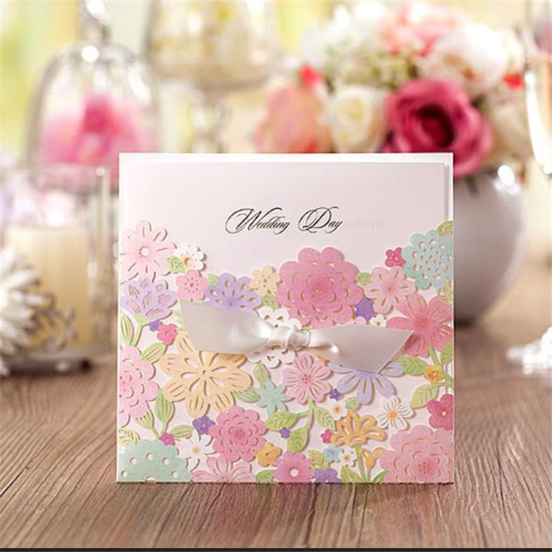 LEEFT 12pcs Laser Cut Wedding Invitations Cards Vintage Girl Happy Birthday Flowers Greeting Thank You In From