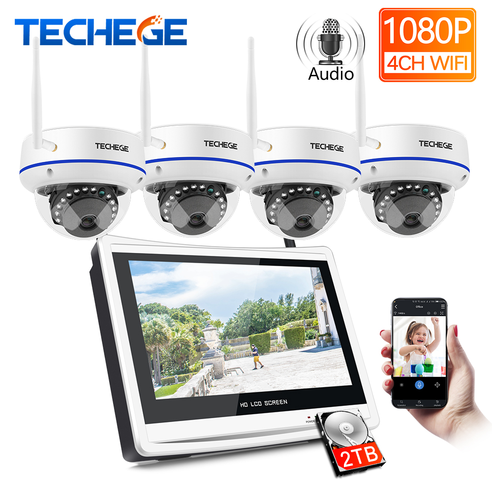 Techege Plug and Play 4CH Wireless NVR Kit 12inch LCD NVR 1080P HD Vandalproof Security IP