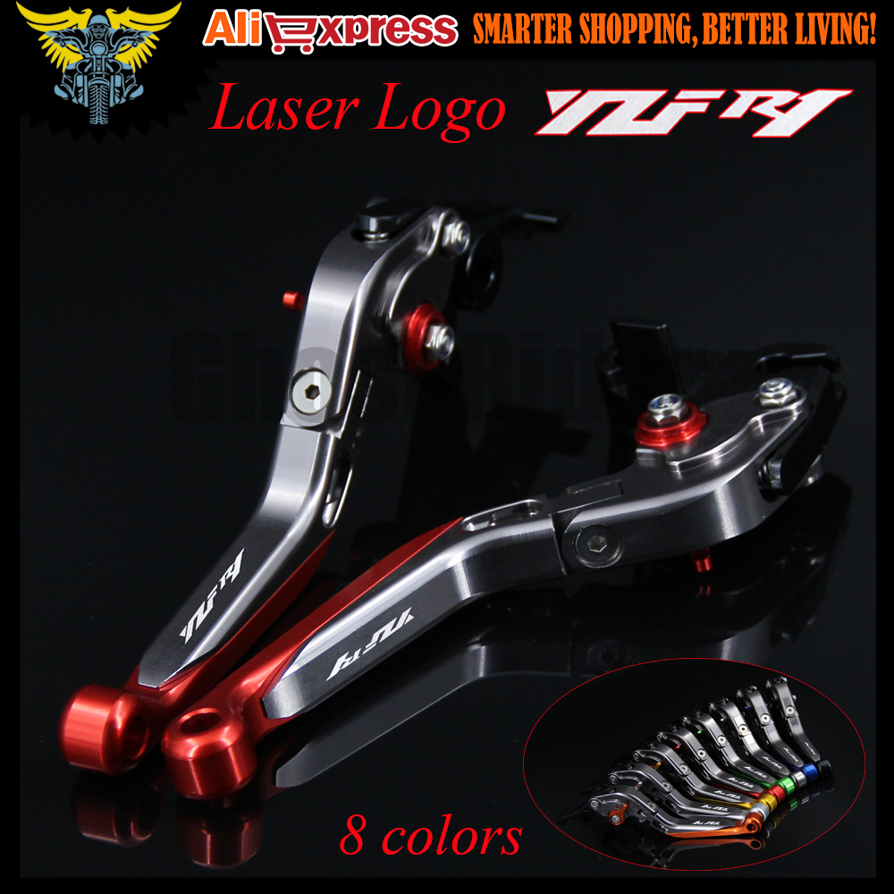 With Logo(YZF R1) Red+Titanium CNC New Adjustable Motorcycle Brake Clutch Levers For Yamaha YZF R1 2009 2010 2011 2012 2013 2014 6 colors cnc adjustable motorcycle brake clutch levers for yamaha yzf r6 yzfr6 1999 2004 2005 2016 2017 logo yzf r6 lever