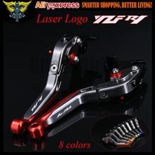 Mit Logo (YZF R1) rot + titanium cnc neue einstellbare motorrad bremse kupplungshebel für yamaha yzf r1 2009 2010 2011 2012 2013 2014