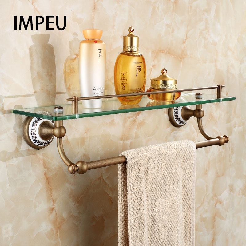 45cm Bathroom Glass Shelf 1 Tier Coming with Towel Bar Shower Caddy Bath Basket Wall Mount