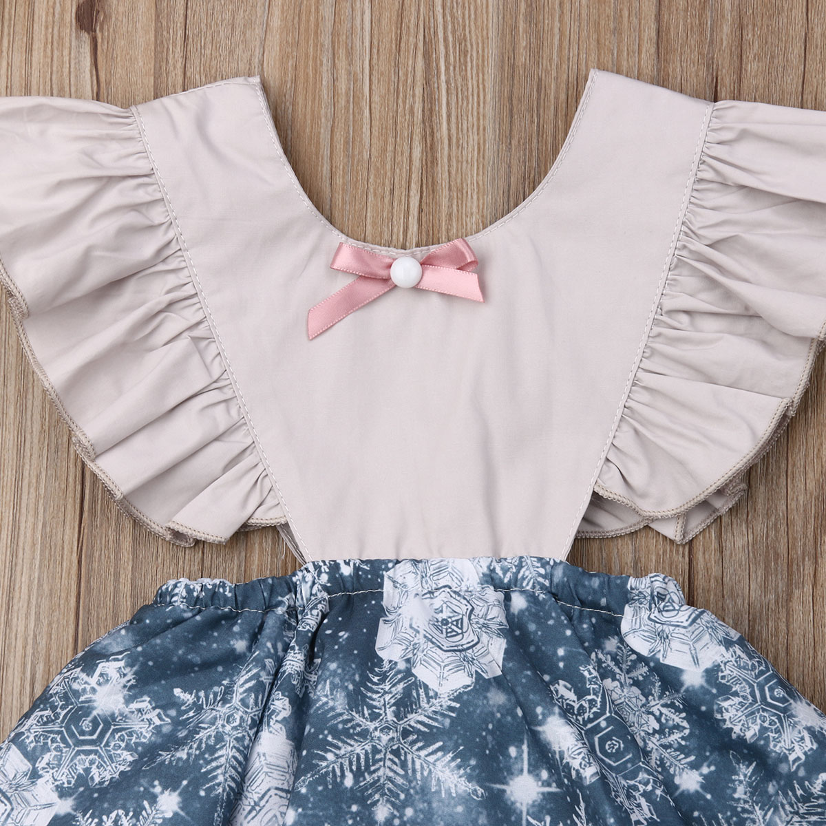 0 24M Newborn Baby Girls Ruffles Rompers Princess Tulle Jumpsuit Playsuit Snowflake Christmas Baby Girl Costumes Clothes in Rompers from Mother Kids
