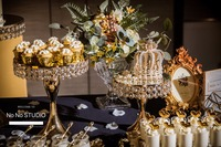 2018 fashion luxury crystal gold silver wedding cake stand holder cake fondant cupcake sweet table candy bar table decorating