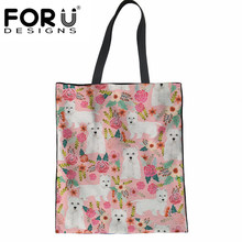 FORUDESIGNS Large Reusable Grocery Women Tote Bag Eco Big Foldable Shopping Bags Cute Westie Florals Printed Ladies Shopper Bag(China)