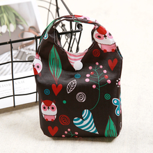 Black Oxford Foldable Shopping Bag Flower Print Eco Handy Reusable Tote Pouch Recycle Storage Folding