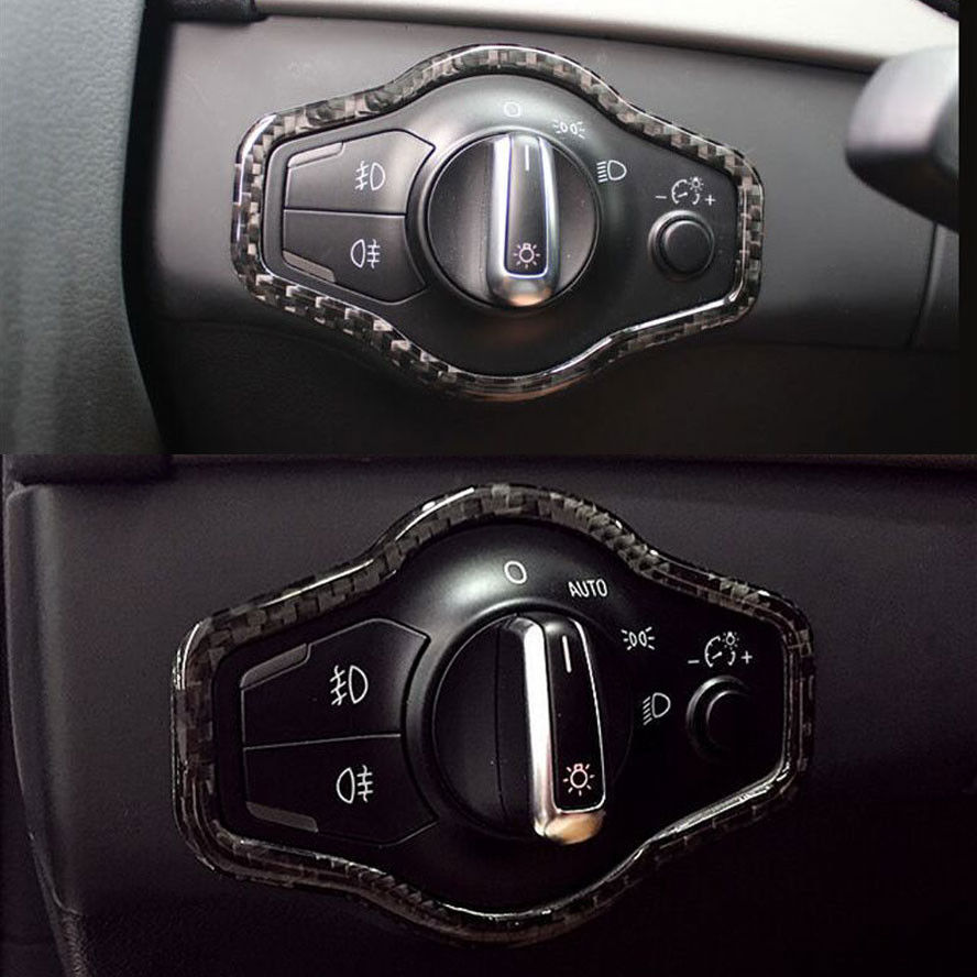 LHD Carbon Fiber Car Headlight Switch Button Trim Frame Cover Fits For Audi A4L A5 Q5 Car Styling Auto Accessories