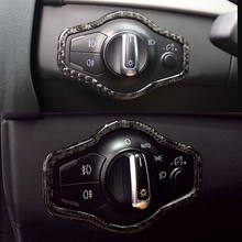 LHD Carbon Fiber Car Headlight Switch Button Trim Frame Interior Cover Fits For Audi A4L A5 Q5 Car Styling Auto Accessories(China)